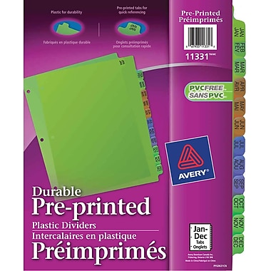 Avery® Durable Preprinted Plastic Dividers, Jan-Dec, Multi-colour, (11331)