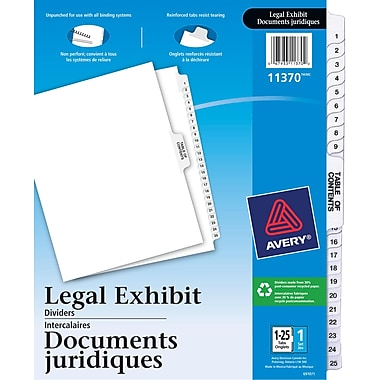 Avery® Legal Exhibit Dividers with Table of Contents, 1-25, White, (11370)