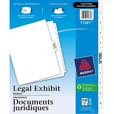 Avery® Legal Exhibit Dividers with Table of Contents, 1-10, White, (11381)