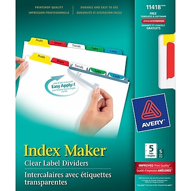 Avery® Index Maker® Clear Label Dividers with Easy Apply™ Labels, 5 Tabs, 5 Sets, Multi-colour, (11418)
