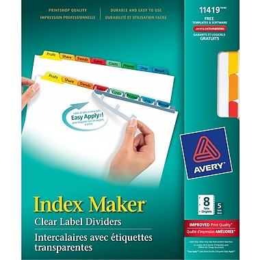 Avery® 11419 Intercalaires Index Maker, étiquettes transp. Easy Apply, couleurs variées, 1-8, 5/pqt