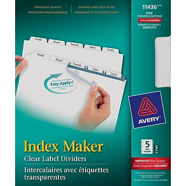 Avery® Index Maker® Clear Label Dividers with Easy Apply™ Labels for Laser/Inkjet Printers, 5 Tabs, 5 Sets, White, (11436)