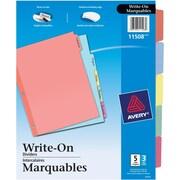 Avery® Plain Tab Write On Dividers, 5 Tabs, 3 sets, Multi-colour, (11508)