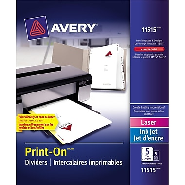 Avery® Print-On™ Dividers for Laser and Inkjet Printers, 5 Tabs, 5 sets, White, (11515)