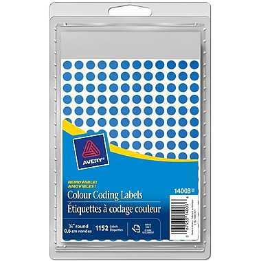 Avery® Blue Removable Round Colour-Coding Labels, 1/4