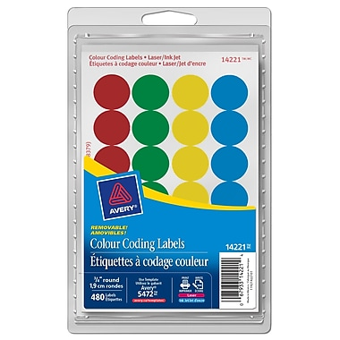 Avery® Assorted Print or Write Removable Round Colour-Coding Labels, 3/4