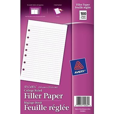 Avery® Filler Paper, 5-1/2