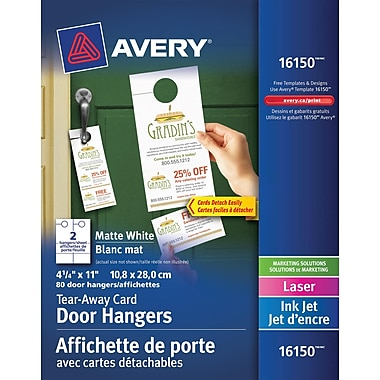 Avery® Door Hangers with Tear-Away Cards, White, 4-1/4