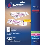 "Avery® Tickets with Tear-Away Stubs, White, 1-3/4"" x 5-1/2"", 200/Pack (16154)"