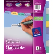 Avery® Durable Plastic Write-On Dividers, 8 Tabs, Multi-colour, (16171)
