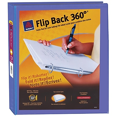 Avery® – Reliures de présentation Flip Back 360°, 1 po, bleu pervenche