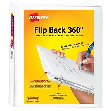 Avery® – Reliures de présentation Flip Back 360°, 1 po, blanc