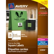 """Avery® White Laser/Inkjet Permanent Print-to-the-Edge Square Labels, 2"""" x 2"""", 300/Pack, (22806)"""