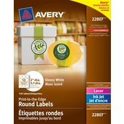 """Avery® White Laser/Inkjet Glossy Print-to-the-Edge Round Labels, Permanent, 2"""", 120/Pack, (22807)"""