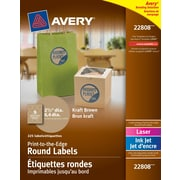 """Avery® Kraft Brown Laser/Inkjet Permanent Print-to-the-Edge Round Labels, 2-1/2"""", 225/Pack, (22808)"""