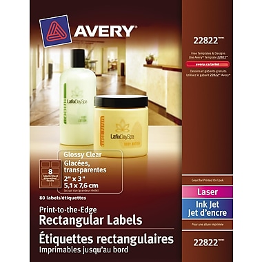 Avery® Clear Glossy Laser/Inkjet Print-to-the-Edge Rectangular Labels, 2