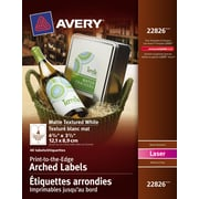 """Avery® Textured White Laser Permanent Print-to-the-Edge Arched Labels, 4-3/4"""" x 3-1/2"""", 40/Pack, (22826)"""
