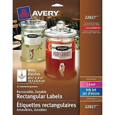 Avery® 22827 Étiquettes durables, rectangulaires, amovibles, blanches, laser/jet d'encre, 4-3/4