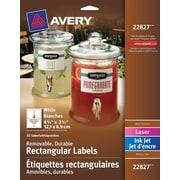 "Avery® White Laser/Inkjet Durable Removable Rectangular Labels, 4-3/4"" x 3-1/2"", 32/Pack, (22827)"