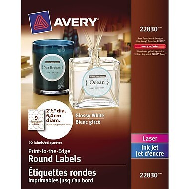 Avery® Glossy White Round Labels, 2-1/2