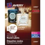 "Avery® Glossy White Round Labels, 2-1/2"" Diameter, 90/Pack, (22830)"