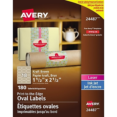Avery® Print to the Edge Kraft Brown Oval Labels, 1-1/2