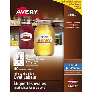 Avery® - 24489 Étiquettes ovales imprimables jusqu'au bord, glacées, blanches, 3 po x 4 po, paq./40