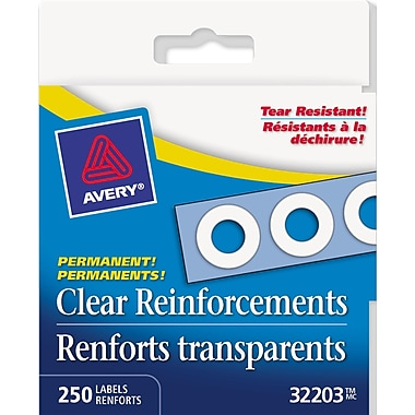 Avery® Clear Self-Adhesive Permanent Reinforcement Labels, 1/4