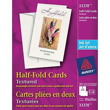 Avery® Textured Half-Fold Greeting Cards,White, 5-1/2
