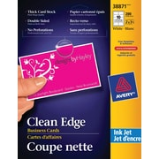 "Avery® Clean Edge Inkjet Business Cards, 3-1/2"" x 2"", White, 200/Pack, (38871)"