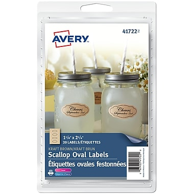 Avery® Kraft Scallop Oval Label, 1-1/8
