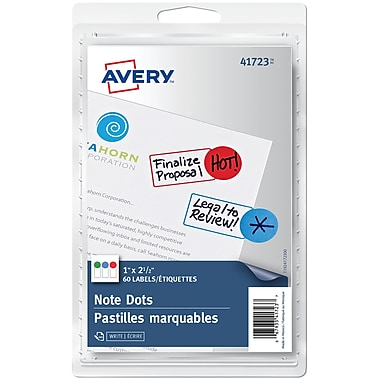 Avery® Removable NoteDot Labels, Assorted Colours, 1