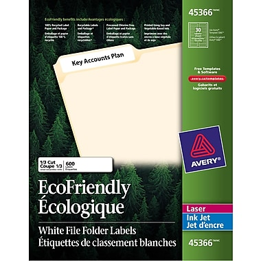 Avery® Eco-Friendly White Laser/Inkjet File Folder Labels, 3-7/16