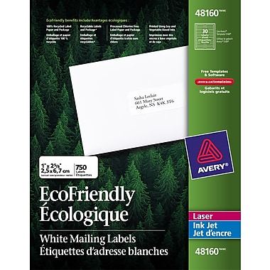 Avery® Eco-Friendly White Laser/Inkjet Address Labels, 2-5/8