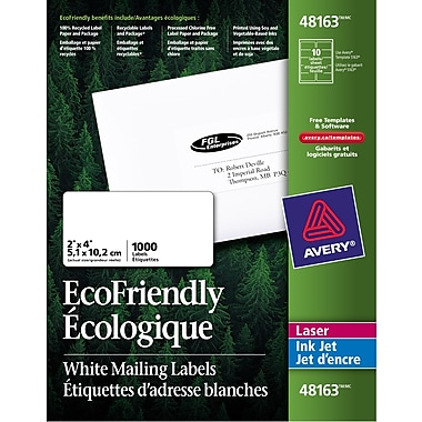 Avery® Eco-Friendly White Laser/Inkjet Shipping Labels, 4