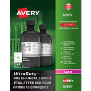 """Avery® UltraDuty White GHS Chemical Labels, 2"""" x 4"""", 500/Pack, (60505)"""