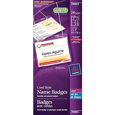 Avery® Convention Style Laser/Inkjet Name Badge Kit, 4