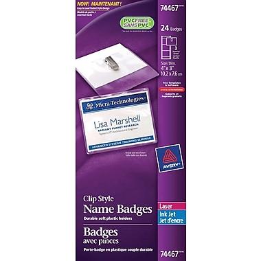 Avery® Clip Style Laser/Inkjet Name Badge Kit, 4