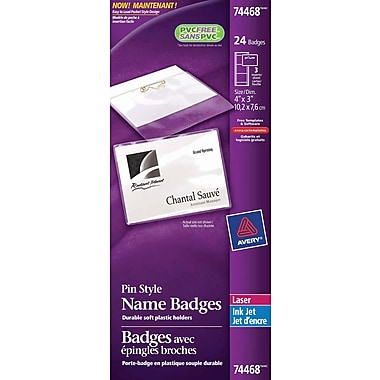 Avery® Pin Style Laser/Inkjet Name Badge Kit, 4