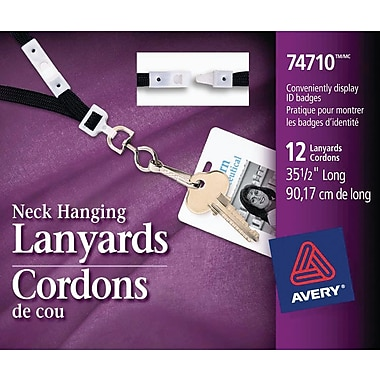 Avery® Breakaway Lanyards, Black, 12/Pack, (74710)