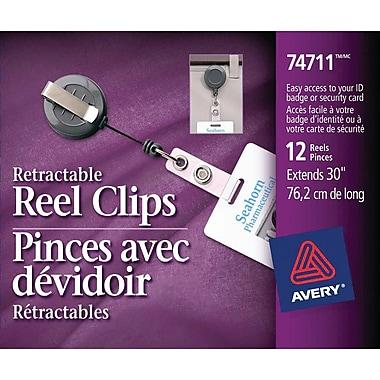 Avery® – Pinces avec dévidoir rétractables, 30 po, paq./12