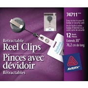 """Avery® Retractable Reel Clips, 30"""", 12/Pack, (74711)"""