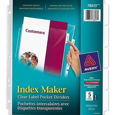 Avery® Index Maker® Clear Label View Dividers, 5 Tabs, Clear, (78613)