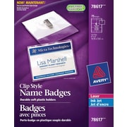 "Avery® Clip Style Laser/Inkjet Name Badge Kit, 4"" x 3"", 75/Pack, (78617)"