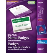 "Avery® Pin Style Laser/Inkjet Name Badge Kit, 4"" x 3"", 100/Pack, (78619)"