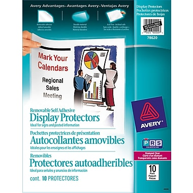 Avery® Removable Self Adhesive Display Protectors, Clear, Removable, 10/Pack, (78620)