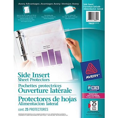 Avery® Side Insert Sheet Protectors, Diamond Clear, 25/Pack, (78629)