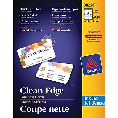 Avery® Rounded Corners Clean Edge Inkjet Business Cards, 3-1/2