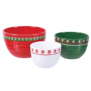 DEI Merry and Bright Textured Ceramic Nested Bowl Set