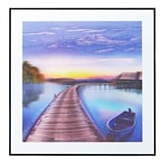 Majestic Mirror Coastal Boardwalk at Sunrise Framed Graphic Art on Canvas